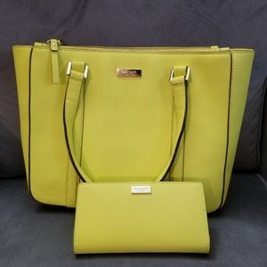 Kate Spade NeonYellow Saffiano Leather Bag&Wallet